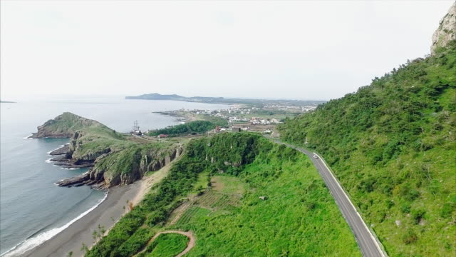 aerial view of coastal road and sagye-ri village - coastal road stock videos & royalty-free footage