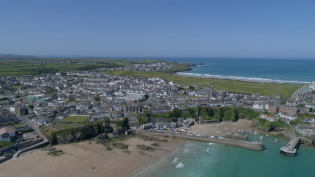 aerial view of coastal settlement, devon region - devon stock videos & royalty-free footage