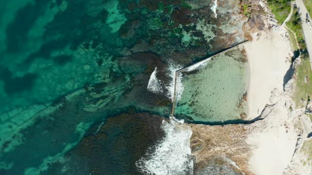 aerial view of coastline amd tidal pool - standing water stock videos & royalty-free footage