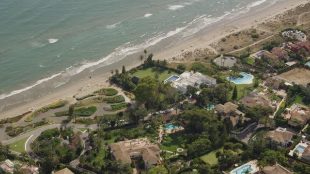 aerial view of coastline and developments (villas, restaurants, hotels) along the Costa del Sol