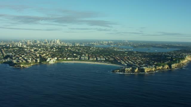 Aerial view of coastline at Bondi Beach Australia