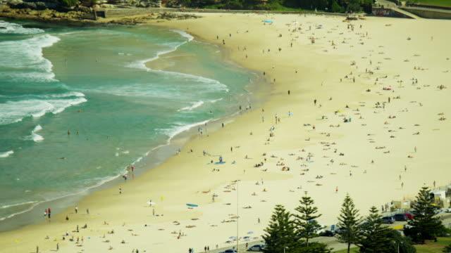 stockvideo's en b-roll-footage met aerial view of coastline at bondi beach sydney - zuidelijk halfrond