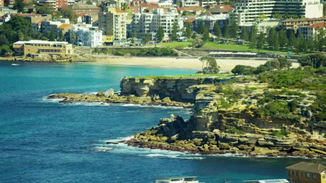 Aerial view of coastline at Bondi Beach Sydney
