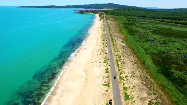 4K Aerial view of coastline