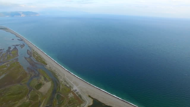 vídeos de stock, filmes e b-roll de aerial view of coastline,magadan,russia. - enseada