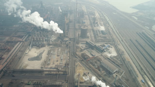 aerial view of coking plant and smog on march 17, 2017 in huanghua, china. . - coal stock videos & royalty-free footage