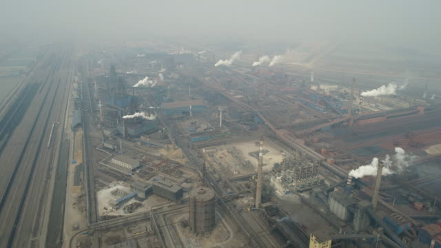 aerial view of coking plant and smog on march 17, 2017 in huanghua, china. . - luftverschmutzung stock-videos und b-roll-filmmaterial