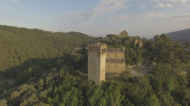 aerial view of colla micheri tower of porta castello - 城点の映像素材/bロール