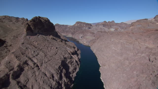 aerial view of colorado river in black canyon, nevada and arizona border. - river colorado stock videos & royalty-free footage