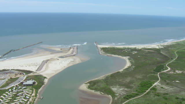 aerial view of colorado river mouth, texas, united states of america. - river colorado stock videos & royalty-free footage