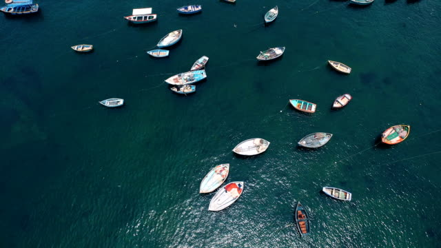 Aerial view of colorful peruvian fishing boats in harbor