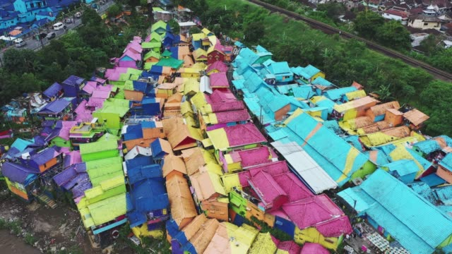 aerial view of colorful rainbow village in  java - indonesia islands stock videos & royalty-free footage
