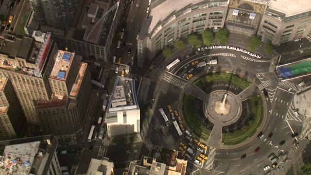 aerial view of columbus circle, manhattan, new york, usa - columbus circle stock videos & royalty-free footage