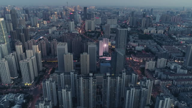 aerial view of commercial district - population explosion stock videos & royalty-free footage