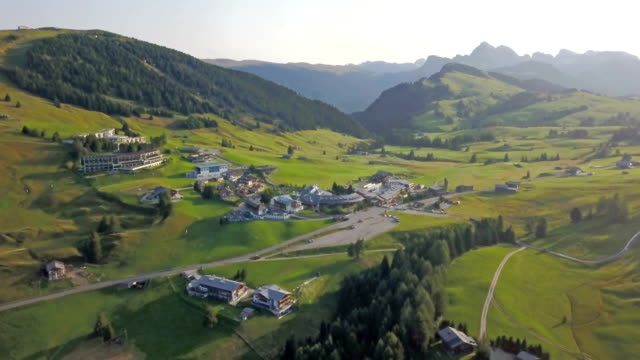 aerial view of compatsch - seiseralm - compatsch stock videos & royalty-free footage