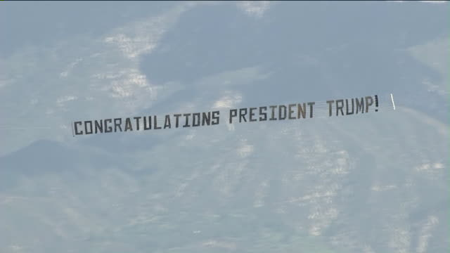 KTLA Aerial View of 'Congratulations President Trump' Sign Over Women's March Los Angeles