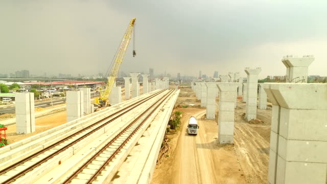Aerial view of Construction of a mass rail transit line in Bangkok ,Thailand