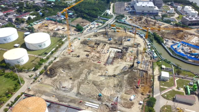 aerial view of construction site at combined cycle power plant or thermal - scaffolding stock videos & royalty-free footage