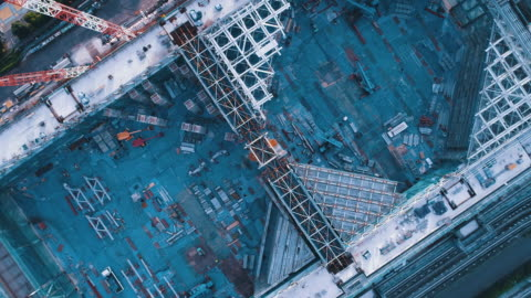 aerial view of construction site - factory stock videos & royalty-free footage