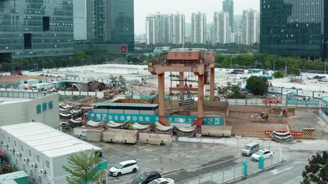 aerial view of constructions sites,shenzhen,china. - construction vehicle stock videos & royalty-free footage
