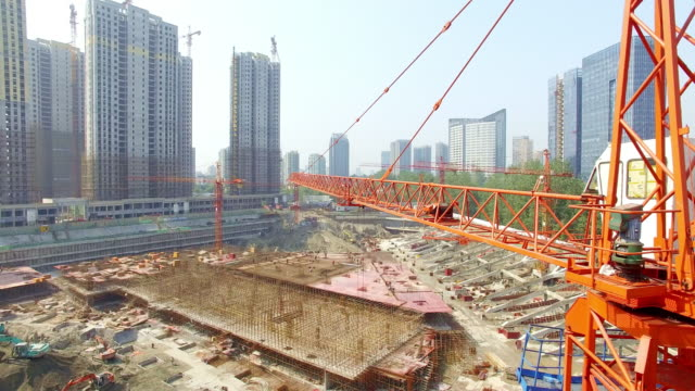 aerial view of construction,shoot by drone - construction site stock videos and b-roll footage