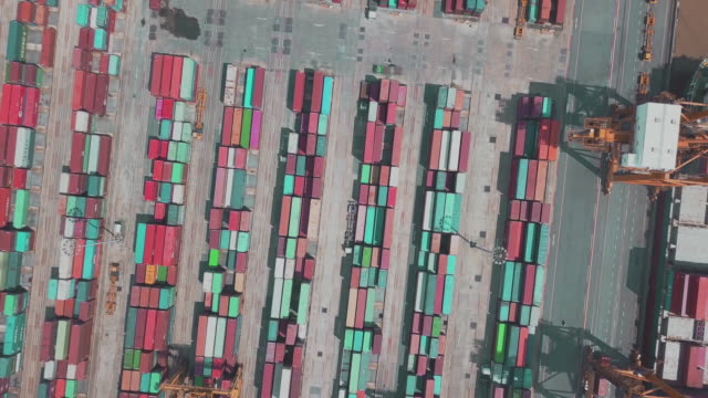 Aerial view of container operation in port