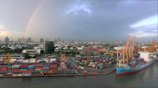 aerial view of container ship anchored in the port of thailand - station stock videos and b-roll footage