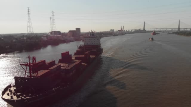 Aerial view of container ship at dockyard for logistic