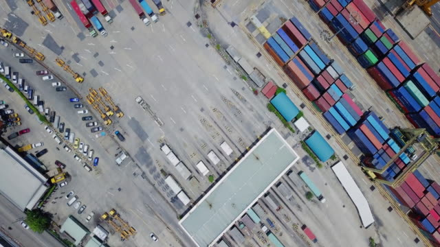 Aerial view of Container ship in import export and business logistic, cargo to harbor