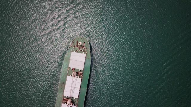 aerial view of container ship in ocean - tanker stock videos & royalty-free footage