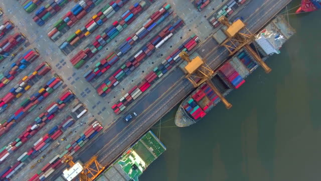 Luchtfoto van Container schip in de haven