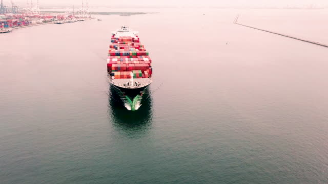 aerial view of container ship in sea - persian gulf countries stock videos & royalty-free footage