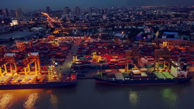 Aerial View of Container ship in the harbor