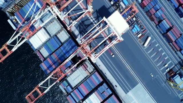 aerial view of container terminal - draufsicht stock-videos und b-roll-filmmaterial