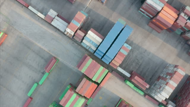 aerial view of container terminal - tianjin stock videos & royalty-free footage