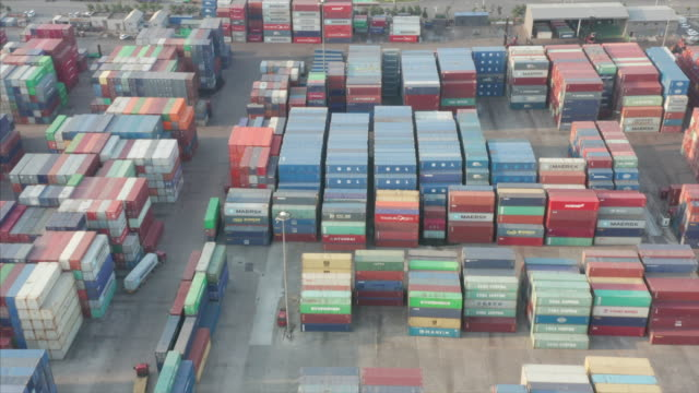 aerial view of container terminal - liyao xie stock videos & royalty-free footage