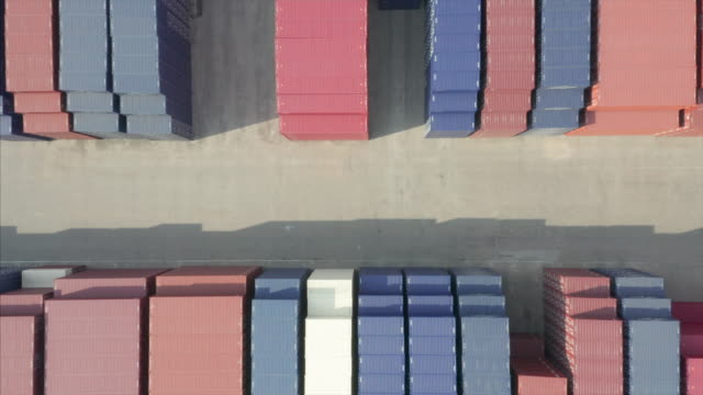 aerial view of containers - liyao xie stock videos & royalty-free footage