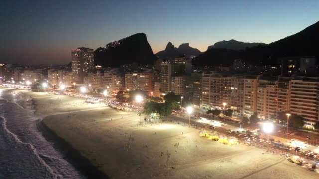 aerial view of copacabana beach at night, rio de janeiro - brazil stock videos & royalty-free footage