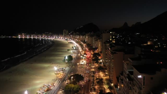 aerial view of copacabana beach at night, rio de janeiro - panoramic stock videos & royalty-free footage