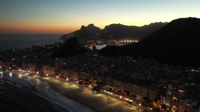 aerial view of copacabana beach at sunset time, rio de janeiro - panoramic stock videos & royalty-free footage