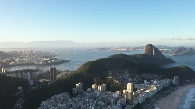 aerial view of copacabana beach in rio de janeiro, sugarloaf in the back - copacabana stock videos & royalty-free footage
