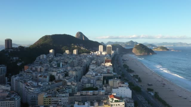 aerial view of copacabana beach in rio de janeiro - copacabana stock videos & royalty-free footage