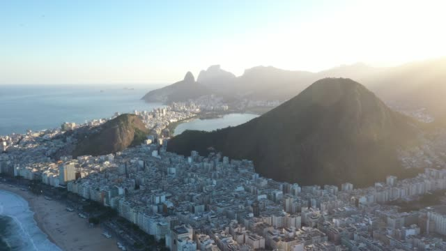 aerial view of copacabana beach in rio de janeiro - geographical locations stock videos & royalty-free footage