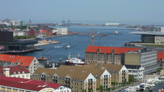 aerial view of copenhagen harbour - copenhagen stock videos and b-roll footage