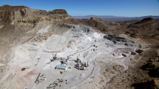 aerial view of copper mining in eldorado mountains in clark county, nevada. - clark county nevada stock videos & royalty-free footage
