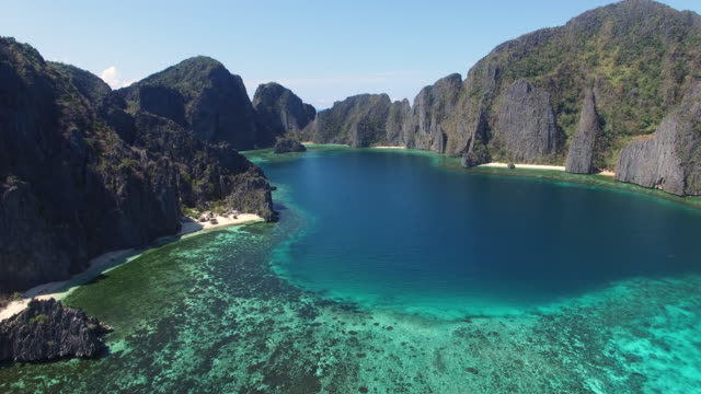 aerial view of coron island, palawan. - philippines stock videos and b-roll footage