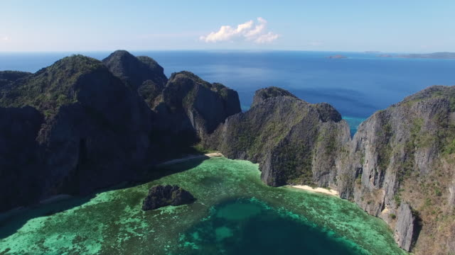 aerial view of coron island, palawan. - sedimentary rock stock videos & royalty-free footage