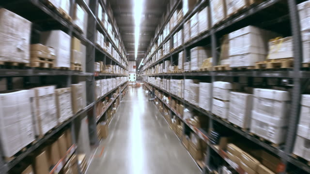 aerial view of corridor in megastore/warehouse with packages,no people - megastore stock videos & royalty-free footage