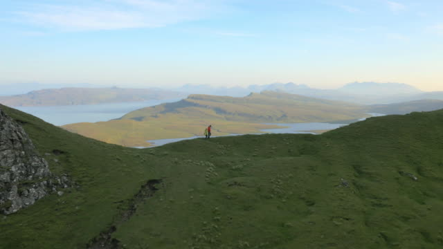 Aerial view of couple hill walking Trotternish Ridge