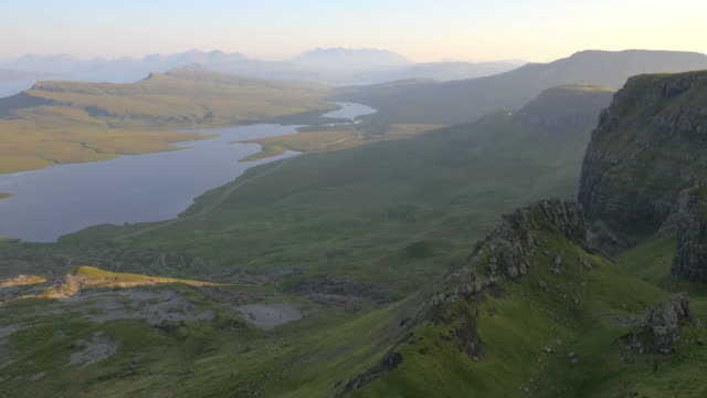 aerial view of couple near old man scotland - scottish highlands stock videos and b-roll footage